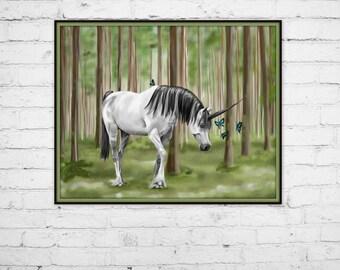 White Unicorn Art Print - Butterflies Art Print - Forest Art - White Horse - Fantasy Art Print - Unicorn Lovers Art - Blue Butterflies - Joy