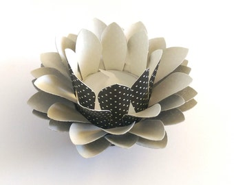 Tealight holder - Black and Cream dots - Paper Lotus Lamp - Waterlily - Paper Lotus Flower - Home Essentials - Paper Flowers - Home Decor