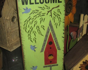 "Primitive Lg Wooden Painted Birdhouse Sign "" Welcome To Our Nest "" Housewares Wall art Decor Birds Rustic"