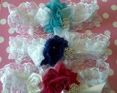 Prom Garter, Custom Lace Shabby Rose Bridal Garter