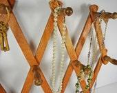Vintage Accordian Wooden Jewelry Rack... 70's Rustic Hat Rack.....Coat Rack