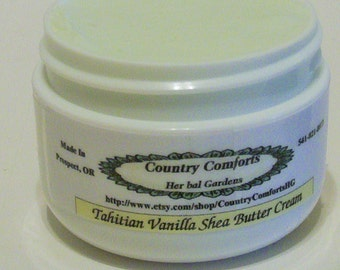 Tahitian Vanilla - Whipped Shea Body Butter Cream – Shea Butter, Mango Butter, Cocoa Butter – 1 oz. jar