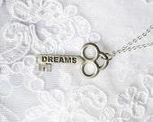 Vintage Skeleton Key Pendant, Silver Tone Necklace, DREAM, HLAF OFF S A L E, Item No. B443