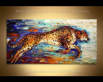 "Oil painting on canvas  Cheetah texture art from Paula Nizamas ready to hang 48"" x 24"""