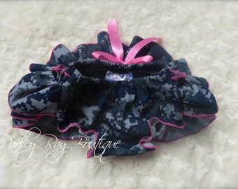 Parley Ray Daddy's Girl US Navy Digital Camouflage Ruffled Baby Bloomers / Diaper Cover / Photo Prop