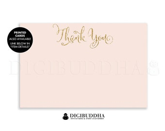 Blush Pink & Gold Thank You Card INSTANT DOWNLOAD 4x6 Flat Gold Glitter Pastel Pink Bride To Be Boho Chic Bridal Shower DIY Printable - Mila