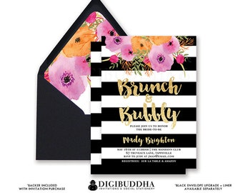 BRUNCH & BUBBLY INVITATION Bridal Shower Invite Black and White Stripes Gold Glitter Flowers Free Priority Shipping or DiY Printable- Mady