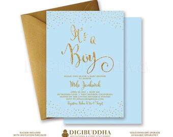 BLUE & GOLD BABY Shower Invitation It's A Boy Gold Glitter Confetti Sprinkle Sparkle Baby Shower Party Free Shipping or DiY Printable- Mila