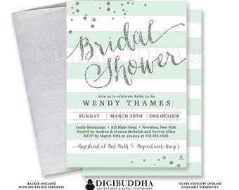 MINT & SILVER BRIDAL Shower Invitation Stripe Printable Invite Mint Green Silver Glitter Modern Wedding Free Priority Shipping or DiY- Wendy