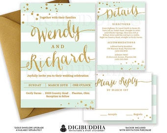 MINT & GOLD WEDDING Invitation Glitter Confetti 3 Pc Suite RSvP Enclosure Card Mint Green Stripe Invite Free Shipping o DiY Printable- Wendy