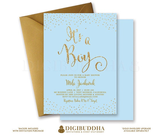 blue & gold baby shower invitation it's a boy gold glitter,