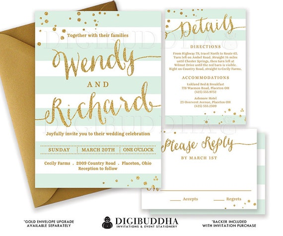 like this item - Mint And Gold Wedding Invitations
