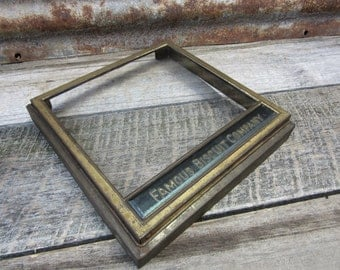 RARE Antique FAMOUS Biscuit Company Box Lid Metal and Glass 1920s Era Store Advertising Vintage Advertisement Bakery General Store Crate Lid