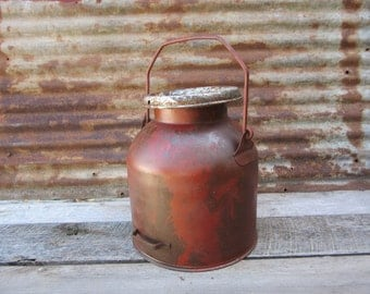Unusual Old Milk Can Painted Messy RED Distressed Pot Belly Style Vintage Dairy Antique Rustic vtg Industrial Decor Tractor vtg Rusted Rusty