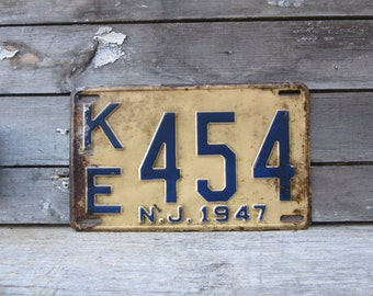 Antique License Plate New Jersey NJ Vintage 1947 Blue & Cream 1940s Era Distressed Aged Patina Car Auto Hot Rod Rat Rod Man Cave Sign VTG