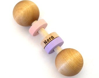 Wooden Baby Toy - Personalized Baby Rattle - Pick Any 2 Colors - Hill Country Woodcraft
