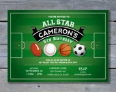 "BASEBALL, Basketball, Soccer & Football Sports BIrthday Invitation for All Star Party - 5""x7"" - DIY Printing"