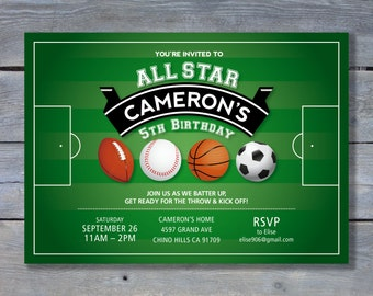 "ALL STAR Sports Birthday Invitation for Baseball, Basketball, Soccer & Football Party - 5""x7"" - DIY Printing - Printable File"