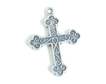 Sterling Silver Cross Pendant Charm for Necklace, Rosary, Earrings