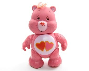 Love-A-Lot Bear Poseable Vintage Care Bears Toy PVC Figurine, Pink with Hearts on Tummy