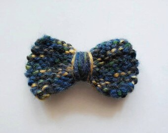 knit hair bow barrette, hair decoration, navy blue, gold, green, for girls and women