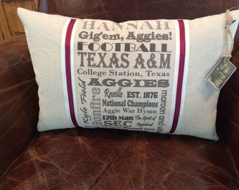 Personalized Texas A&M Aggies Pillow