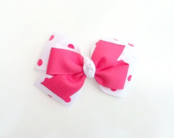 Hot pink and white hair bow, girls hairbow