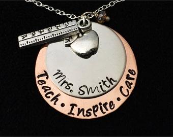 Personalized Teacher Necklace - Teacher's Jewelry - Teacher Appreciation Gift - End of Year Teacher Gift - Teacher Gift -  Teachers necklace