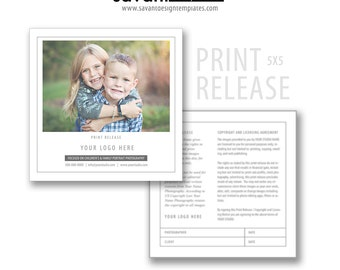 Photography Print Release Card - Photography Business Release - Photoshop templates for Photographers INSTANT DOWNLOAD
