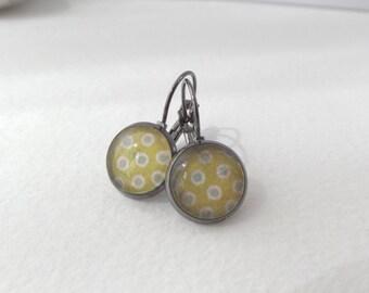Chartreuse Green Dotty Earrings - Gunmetal black Lever back, glass topped earrings, Lime Green Earrings, Polka dot earrings