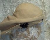 Vintage 1930s - 1940s hat,  off white retro hat,