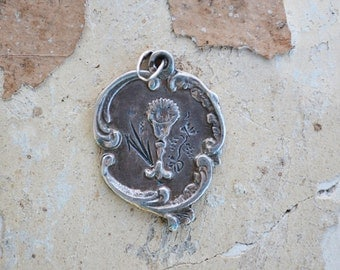 Antique French First Communion Medal, Hallmarked French Silver, Catholic Jewelry, Catholic Gift