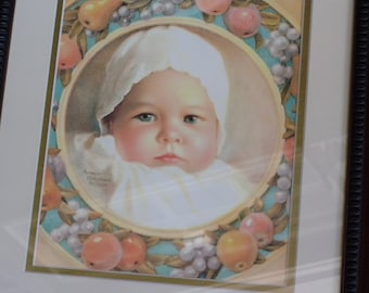 Vintage Baby Print by Annie Benson Muller Original 1929 ~ Framed Nursery Decor