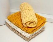 Handmade Cotton Dishcloths - Reusable & Eco Friendly Kitchen Cloths - Set of 4