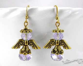 Gold Purple Angel Earrings, Holiday jewelry Christmas earrings Catholic jewelry Christian earrings, crystal earrings christian gift catholic