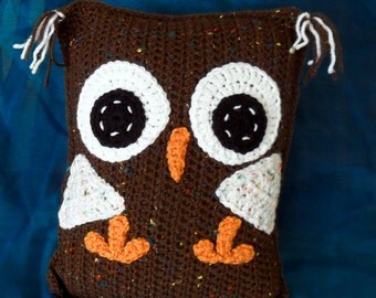 Crochet Rectangular Owl Pillow - Whimsical Brown with flecks of color