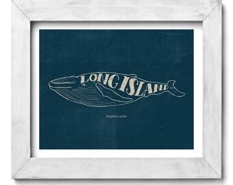 Humpback Whale Long Island Hand Drawn Lettering Nautical Print