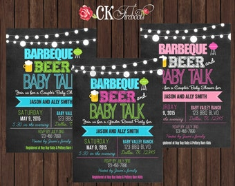 Gender Reveal or Baby Shower Invite BBQ, Beer, Baby Talk invite - Chalkboard