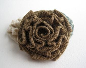 "Burlap Rosette Flower Applique - 3"" Diameter - Natural Brown - Single Rosette for Weddings, Pillows, Table Runners, and More"