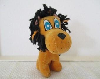 "Vintage Lion Plush Velvet Toy Stuffed Animal Miniature 4.5"" Tall Maybe Dakin No Tag Gold Black Yarn Mane 1960's"