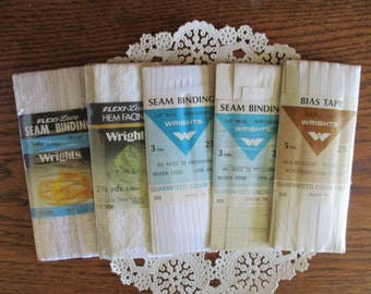 Vintage White Lace Seam Binding and Hem Tape, Rayon Seam Binding, Cotton  5 Packages 1960-1980's Unused Packages Wrights