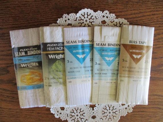 vintage white lace seam binding and hem tape rayon seam. Black Bedroom Furniture Sets. Home Design Ideas
