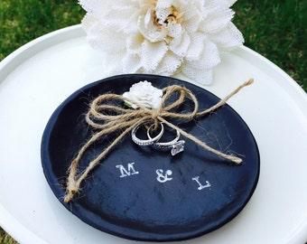 wedding ring dish / rustic wedding ring holder / something old / ring bearer dish / personalized ring bearer holder