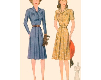 1940s Style Revere Collar Dropped Shoulder Yoke Dress with Front Pleated Skirt Custom Made in Your Size From a Vintage Pattern