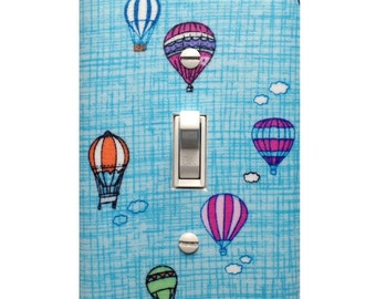 Hot Air Balloon Nursery Decor Switchplate / Aqua Teal White Bright Pink Orange Light Switch Plate Cover / Baby Girl Nursery Decor Lighting