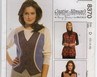 Nancy Zieman Semi Fitted Lined Vest In Two Lengths Size 12 14 16 Sewing Pattern 1996 McCalls 8370 Plus Size