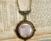 Antique Globe Necklace in Brass - Antique Map Northern Hemisphere - Steampunk - Victorian - Edwardian