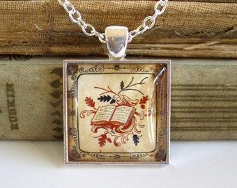 Book Necklace - Antique Print Book Pendant in Silver