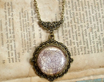 Antique Globe Necklace in Bronze - Antique Map Northern Hemisphere - Steampunk - Victorian - Edwardian