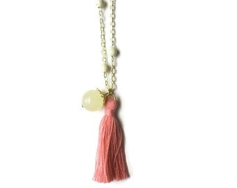 Little Girl Necklace Tassel Salmon Pink and Yellow Jade